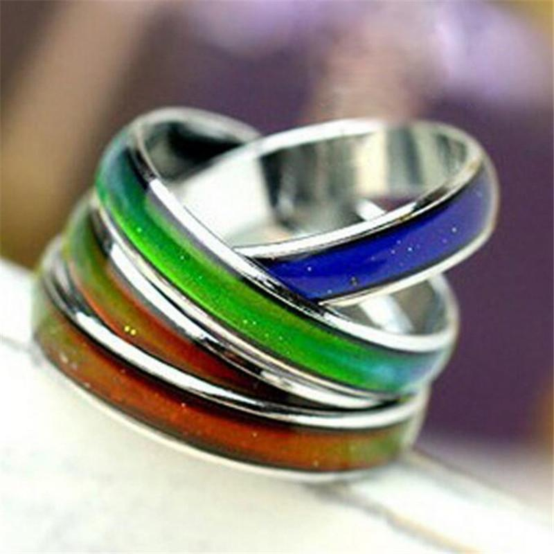 Color Ring Women Engagement Rings Copper Fingers Wide 4mm 6mm Mix Size Fashion Mood Ring Changing Colors Alloy Statement Jewelry