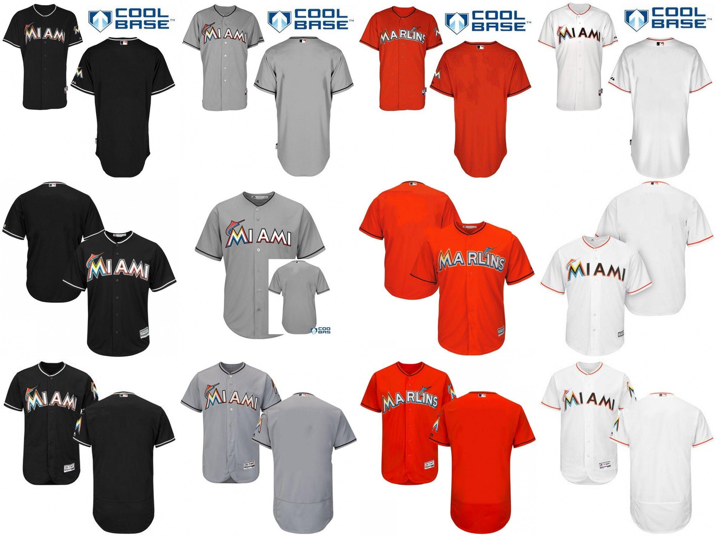 905dd158334 ... 2017 MenS Custom Florida Marlins Black Gray Orange White Cool Base And  Flexbase Blank Jerseys Stitched ...