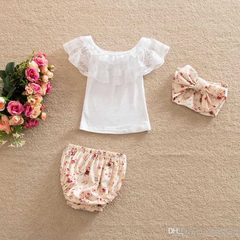 2017 Summer Toddler Baby Clothing White Lace Sleeveless Vest+Floral Printed Shorts+Hair Band Sets Kids Infants Outfits Baby Girl Suit