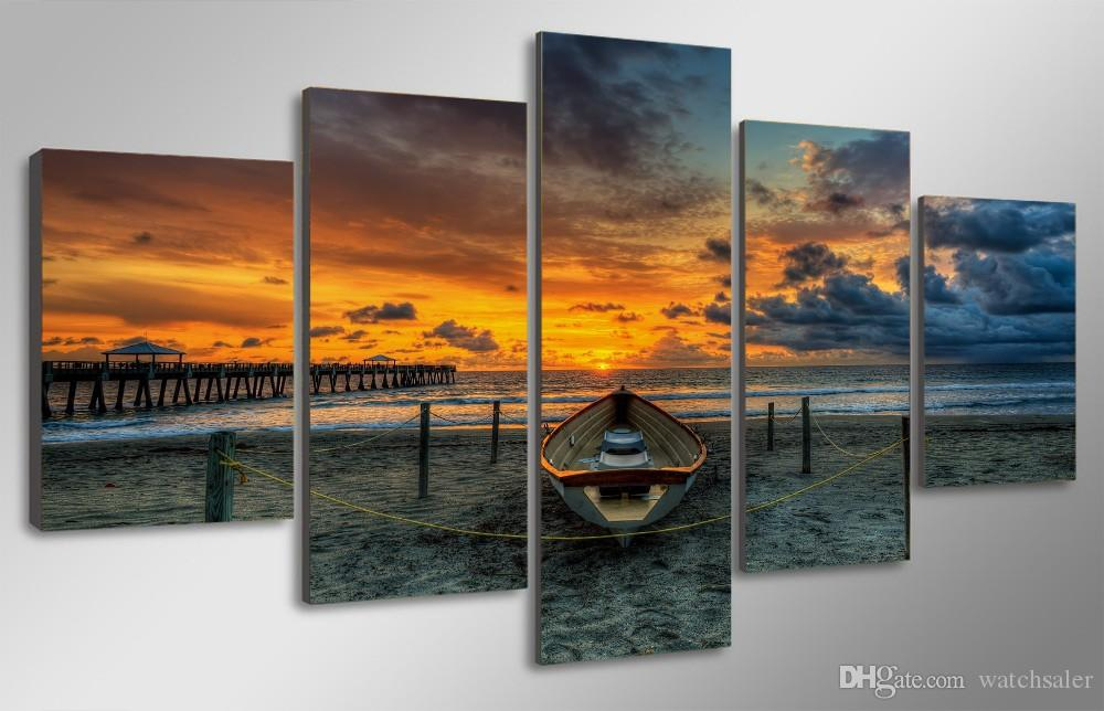 HD Printed Sunset Beach Boat Painting Canvas Print room decor print poster picture canvas painting with frame