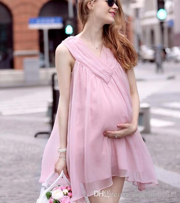 Summer Chiffon Maternity Clothes New Plus Size Maternity Dresses With Fashion Casual Loose Sleeveless Beach Office Bridesmaid Dress