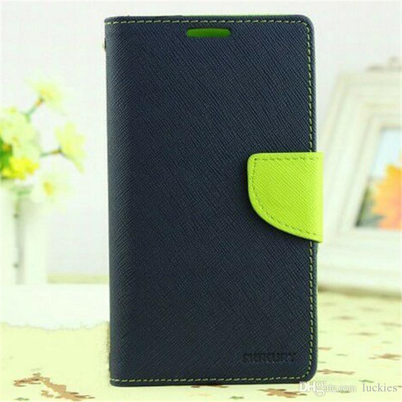 Caso da carteira de mercúrio lona slots de cartão de crédito pu proteção de couro flip media stand capa para iphone 7 6 s plus samsung s8 plus s7 edge