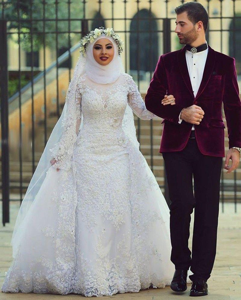 Luxury Mermaid Dubai Arabic Muslim Wedding Dresses With Hijab Long Sleeves Gowns Beaded Lace Overskirts Bridal