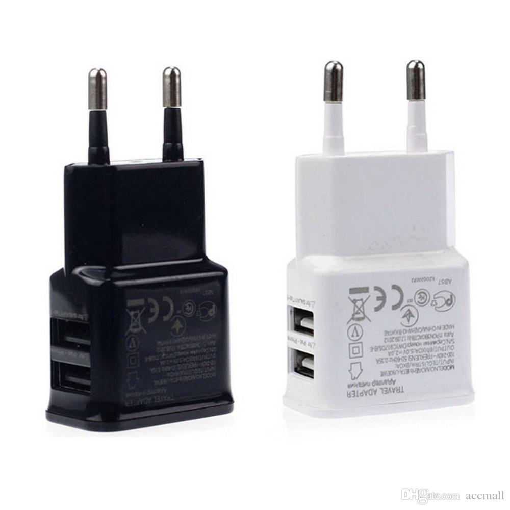 Universal dual usb plugue da ue 5 v 2a parede adaptador de carregador de energia de viagem para iphone 5 6 6 s plus htc samsung galaxy tabs s6 s4 android telefones inteligentes