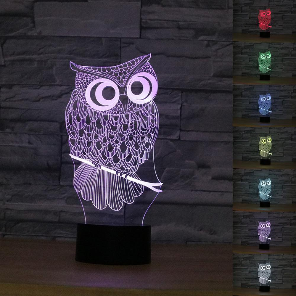 OWL 3D Night Light RGB Changeable Mood Lamp LED Luminaria Light DC 5V USB  Decorative Table Lamp For Bedroom Holiday Lighting
