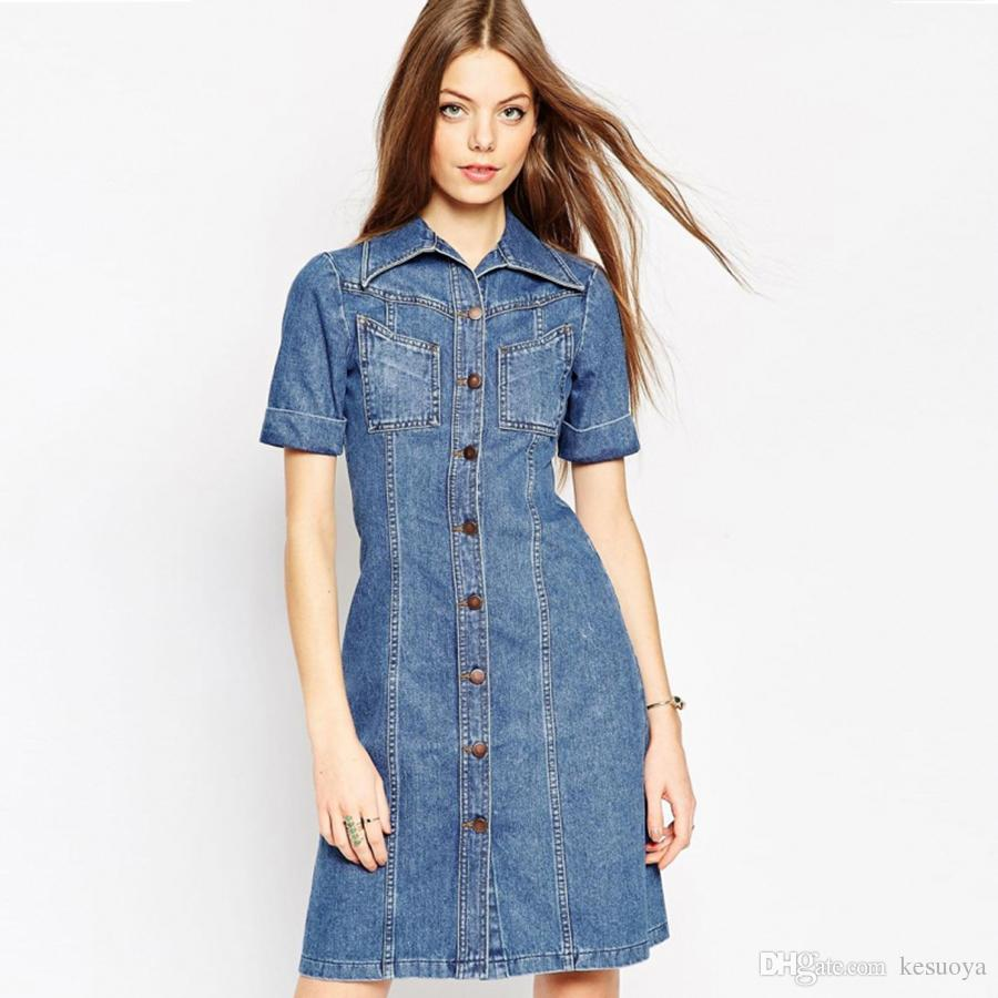 Summer Women Jeans Dress Short Sleeve Sexy Denim Dresses Shirts Plus ...