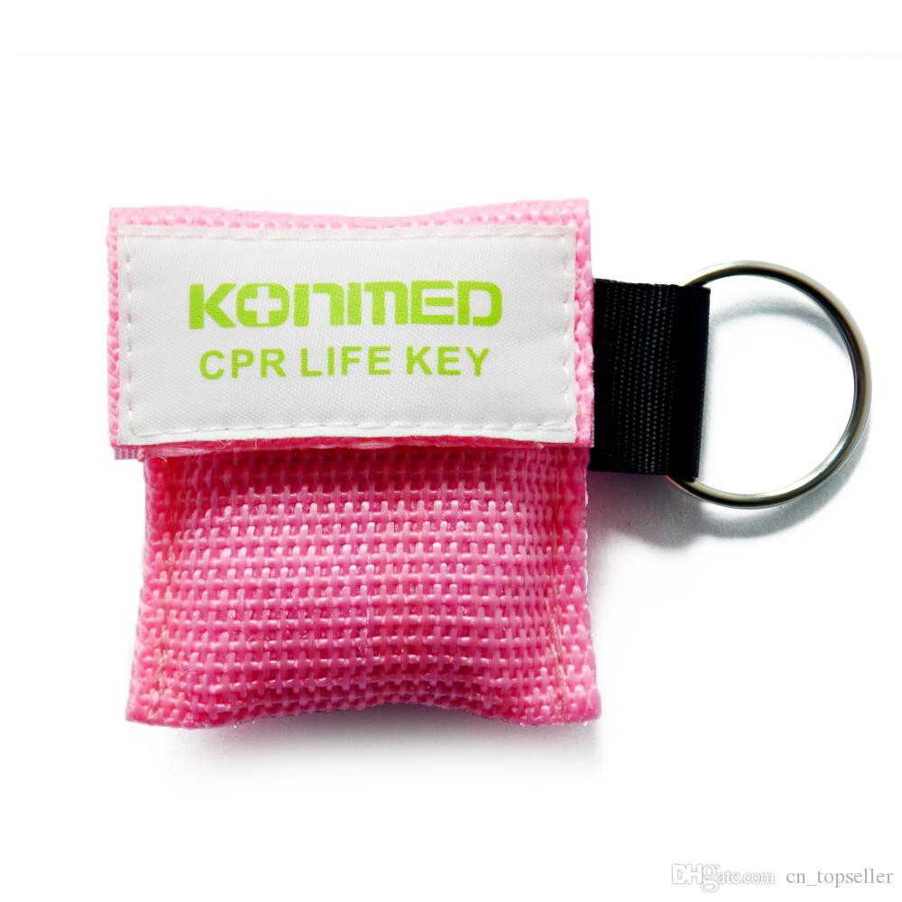 CPR Mask Key Chain Kit 20 pack - حاجز التنفس في اتجاه واحد للصمام والوجه في اتجاه واحد لإنقاذ الإسعافات الأولية أو تدريب AED