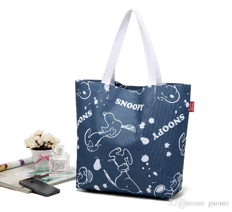 2017 Hot Sales Denim Blue Snoopy waterproof Canvas reusable shopping bags