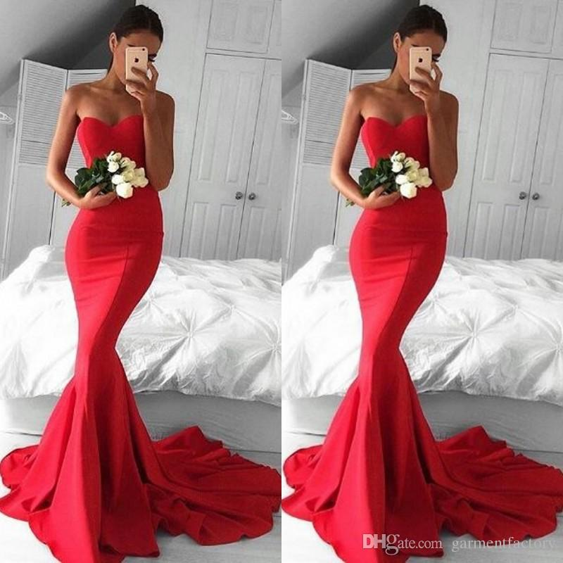 Sexy 2017 Prom Dresses Mermaid Sweetheart Neck Fishtail Silhouette