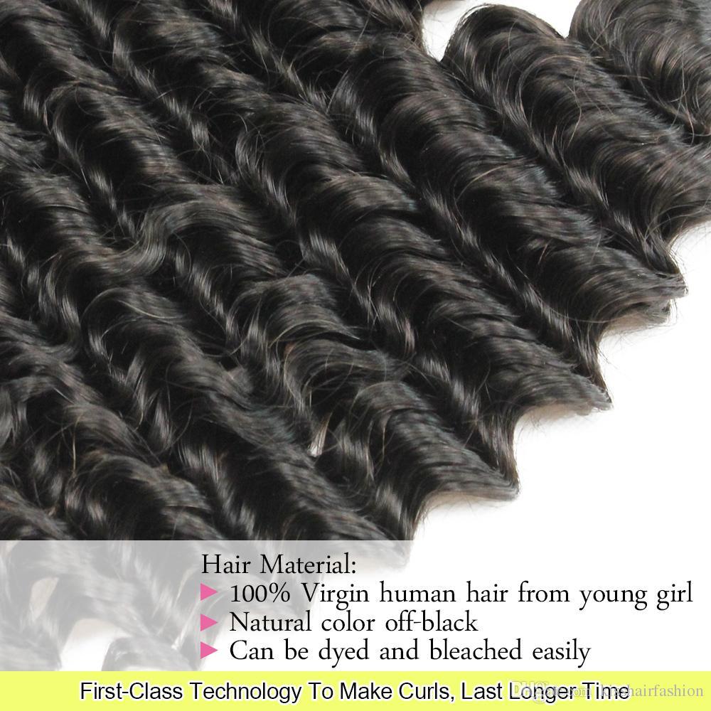 Deep Wave Haarwebart 2 Bundles Natürliche Braune Farbe Brasilianisches Peruanisches Malaysisches Indisches Mongolisches Tiefes Lockiges Reines Menschenhaar Extensions