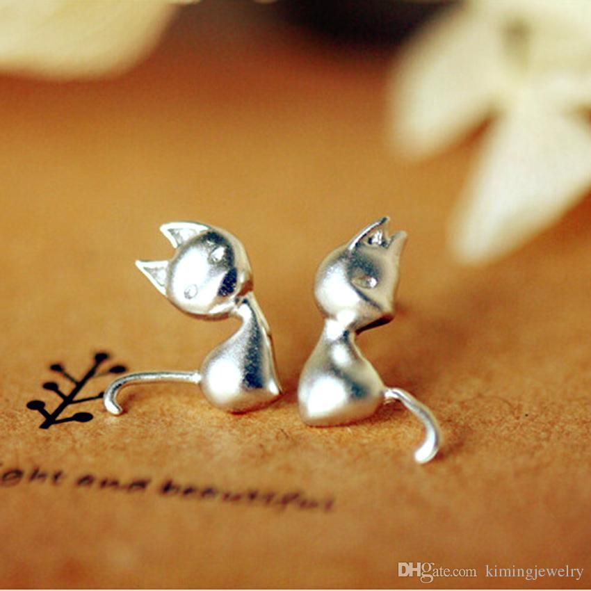 New Hot Sale Pure 925 Sterling Silver Lovely Cat Kitten Stud Earrings Women Statement Jewelry Pendientes Brincos