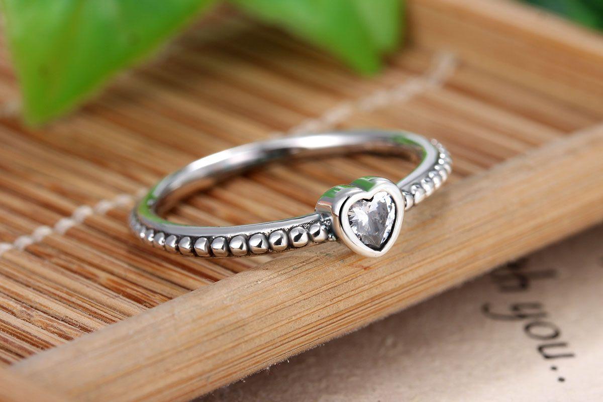 vendita all'ingrosso 925 anello cuore d'argento fit pandora cz gioielli anniversario le donne regalo di natale