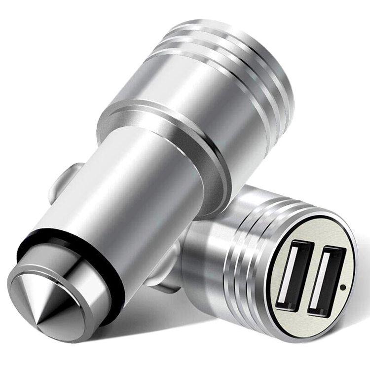 Double port USB Adaptateur chargeur de voiture pour téléphone mobile rapide Chargeur de batterie universel métal USB voiture chargeur de téléphone