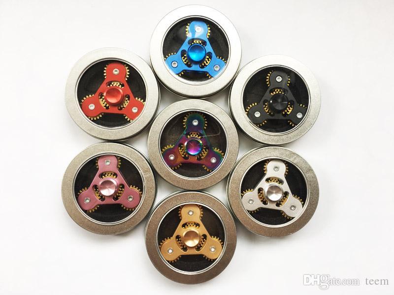Versão limitada Rainbow Fidget Spinners EDC de metal Spinner Brinquedo 3 Cadeia de Engrenagem Dedo Stress três Rodas de Engrenagem dedo Descompressão Brinquedo