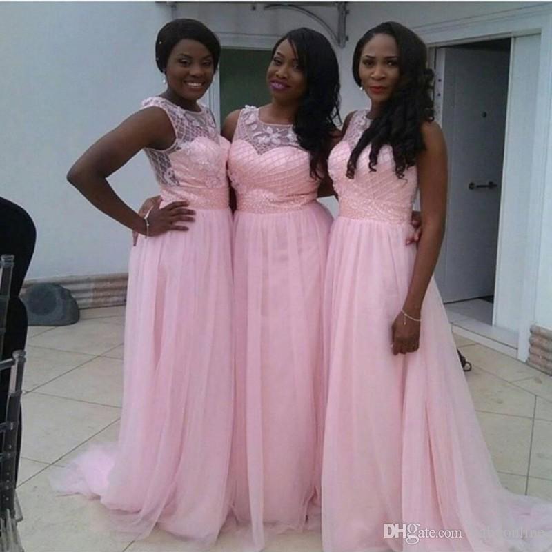 Charming Sommer-Strand-lange Brautjunfer-Kleid 2017 Lovely Pink Backless Rüschen Chiffon Modest eine Linie Hochzeitsgast Partei-Kleid mit Perlen