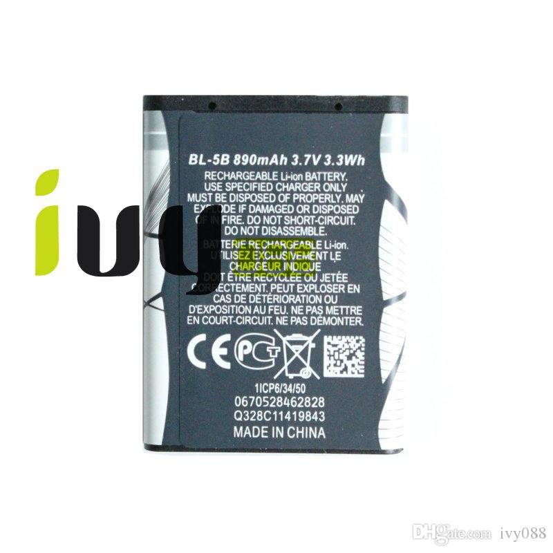 890mAh BL-5B Replacement Battery For Nokia 3230 5070 5140 5140i 5200 5300 5500 6020 6021 6060 6070 6080 6120 6120C 7260
