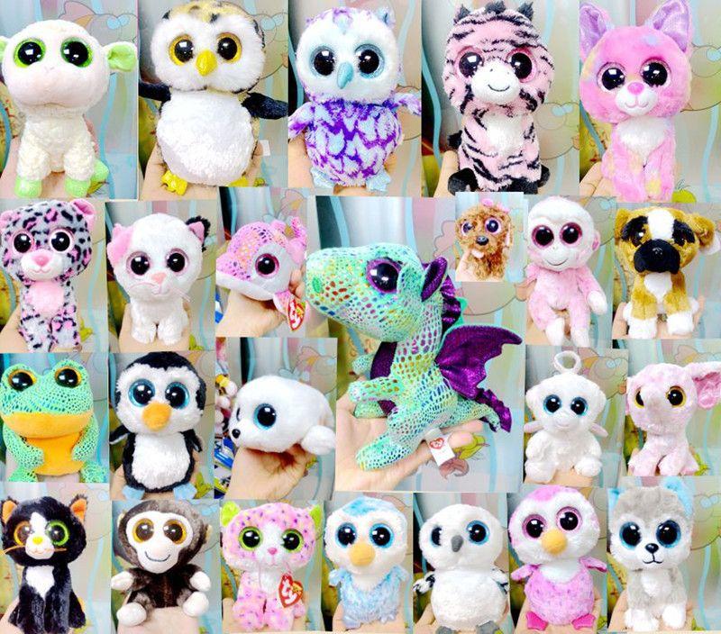 Ty Beanie Boos Peluş Oyuncak Bebekler TY Big Göz Hayvanlar Ayı Tavşan Penguen Yumuşak Doldurulmuş Oyuncaklar Küçük Çocuk Peluş Hediyeleri