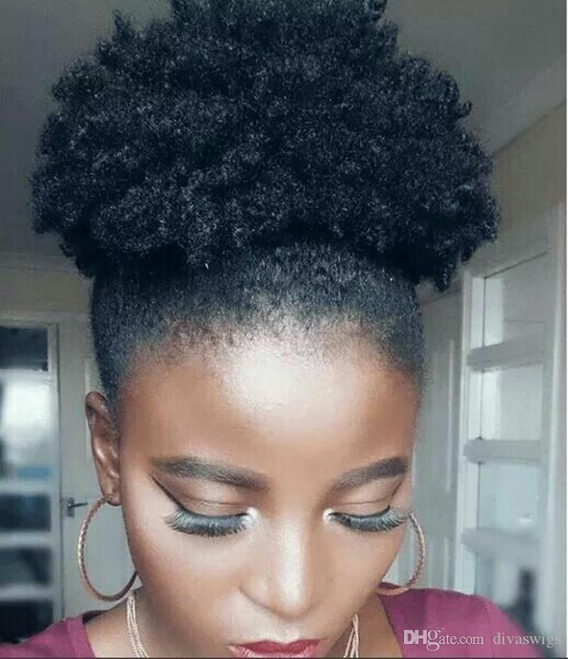Compre Natural Afro Puff Ponytail Hairpiece Clipe Em Humanos Curly