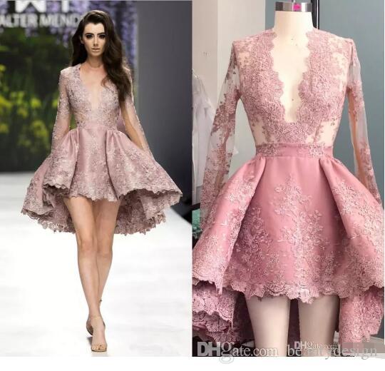 Высокие низкие краснежные розовые короткие платья Homecoming Sheer Fange Willeves Prom Prade Pretion Prace Clace Applique Sexy Prunging Deep V-шеи атласное платье