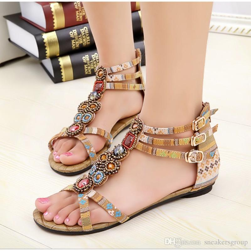 ea4528478e2 2017 Fashion Summer Canvas Pu Leather National Beading Diamond Girls Sandals  Buckle Bohemian Women Sandals Shoes Dansko Sandals Tall Gladiator Sandals  From ...