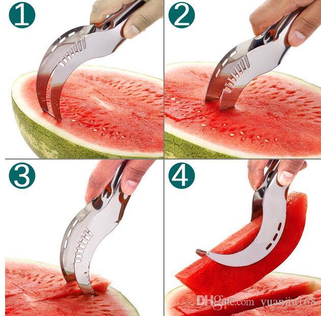 Cuchillo cortador de la rebanadora de la sandía del acero inoxidable Cuchillo herramientas de la fruta de la fruta Gadgets de la cocina G389