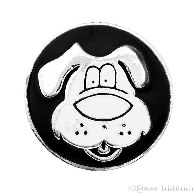 dog black oil ginger snap button for 18mm button snap metal bracelet &necklace gift