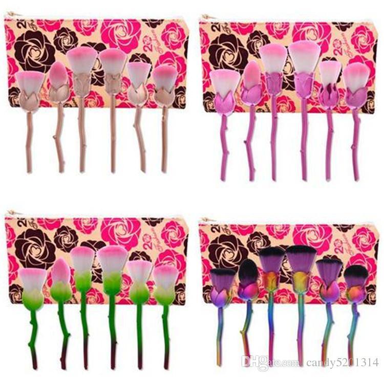 6 unids / set Cosmética Facial Rosa Maquillaje Pinceles Fundación Mezcla Blush Maquillaje Pincel de maquillaje Multiuso Kit de herramientas de Belleza Set A08