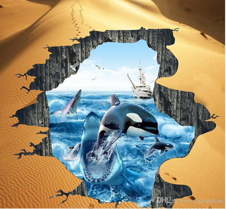 3д полы на заказ ПВХ самоклеющиеся обои акула Дельфин 3D полы панно обои для гостиной