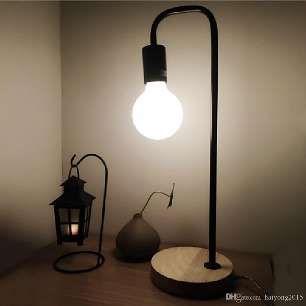 Modern Wooden Wrought Iron Desk Lamp Simple Beautiful Creative Dormitory Edison Table Lamps For Study Room Bedroom Portable Lanterns Outdoor Candle