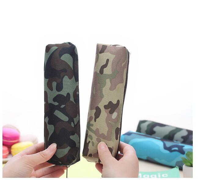 Recém Curso de Lona Sacos de Lápis Meninos Meninas Caneta Caso De Armazenamento Camoflage Zipper Bolsa de Maquiagem Titular Escova Organizadores