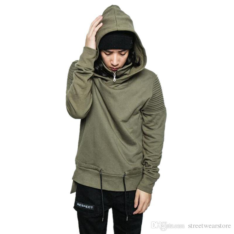 Fashion Hi-Street Men Hip Hop Hoodies With Hood Streetwear Pleated Biker Sweatshirt Drawstring Side Split Motorcycle Hoody