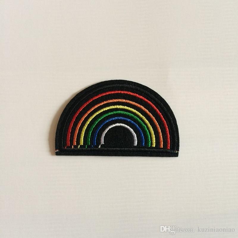 Tela artificial arco iris patch transferencia de calor bordado ropa parches, coser, hierro en apliques para la ropa, mochila