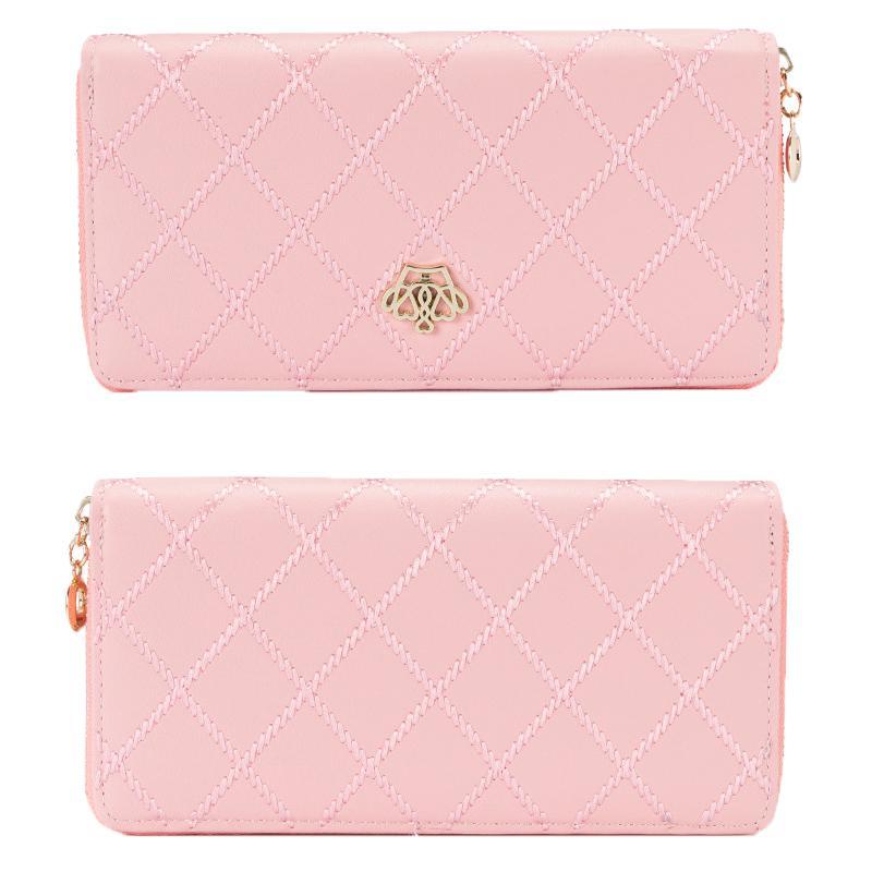 Brand Women Wallet PU Leather Clutch Wallet Female Case Phone Money Bag Purse Card Holder Vintage Crown Embellishment Plaid Wallet