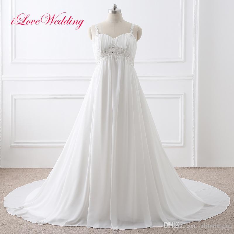 Discount Vintage Lace Wedding Dresses Appliqued Chiffon