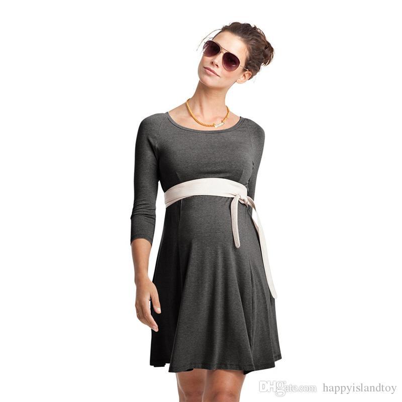 fe41989f7 Compre Vestido De Embarazo De Cintura Alta Elástico Delgado Ropa Hasta La  Rodilla Para Mujer Vestidos De Maternidad Ropa S 3XL Suelta Dama Vestidos  Formales ...