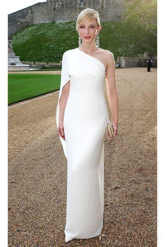 Barato Branco Simples Celebridade Vestidos de Noite Um Ombro Até O Chão Nova Couture Vestidos de Baile Nova Chegada Importado Vestido de Festa