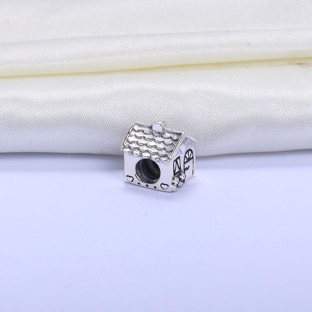 Gros Real 925 Sterling Silver Non Plaqué Famille Accueil Européenne Charms Perles Fit Pandora Serpent Chaîne Bracelet DIY Mode Bijoux