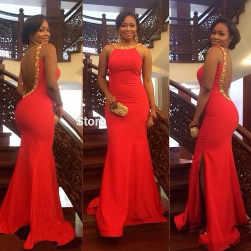 Robes longues rouges de bal de sirène avec la couture O cou sans manche dos ouvert robe formelle robes de soirée