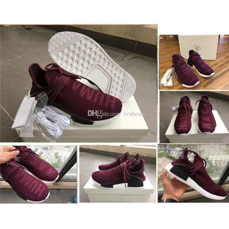 77d215dfda92 2017 Human Race NMD Pharrell Williams Runner Shoes Men Burgundy Maroon Wine  Red Fashion Outdoor Training REAL BOOST Running Sneakers BB0617 Track Shoes  Best ...