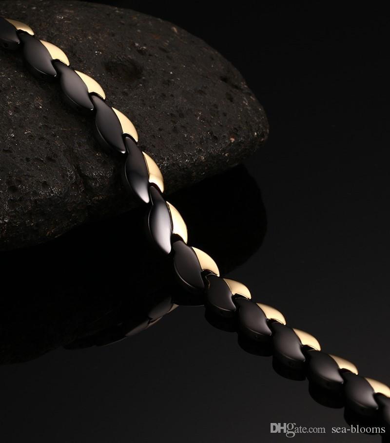 Bracelets santé bracelets bracelets puissance magnétique en acier inoxydable Gold Black plaqué Bracelet bijoux en gros B872S
