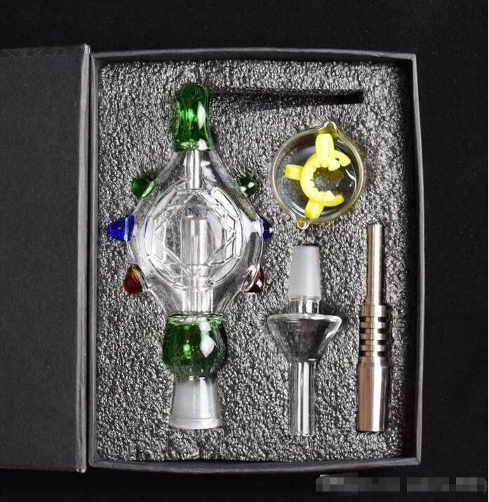 4 цвета НОВЫЕ наборы стеклянные бонги Стеклянные курительные трубки Подвески Domeles Титановый гвоздь стеклянная чаша переработчик DAB бонг нефтяной вышке