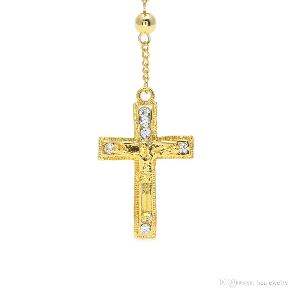 Catholic Jesus Cross Pendant Rosary Necklace Long Bead Chain Cz Diamonds Ice Out Crucifix Charm Pendant Gold Plated Trendy