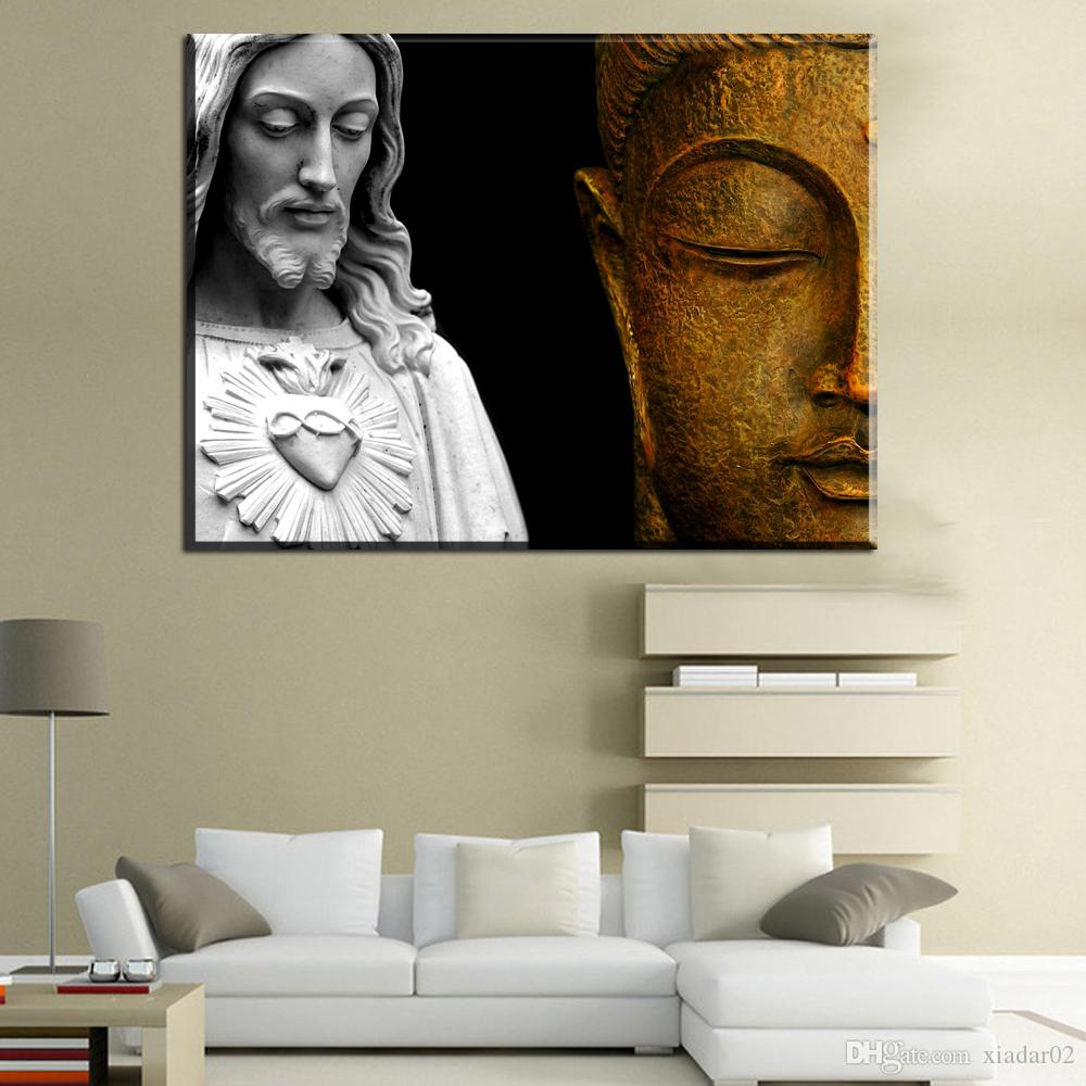 ZZ459 modern canvas art christ vs buddha canvas pictures oil art painting for livingroom bedroom decoration unframed canvas art