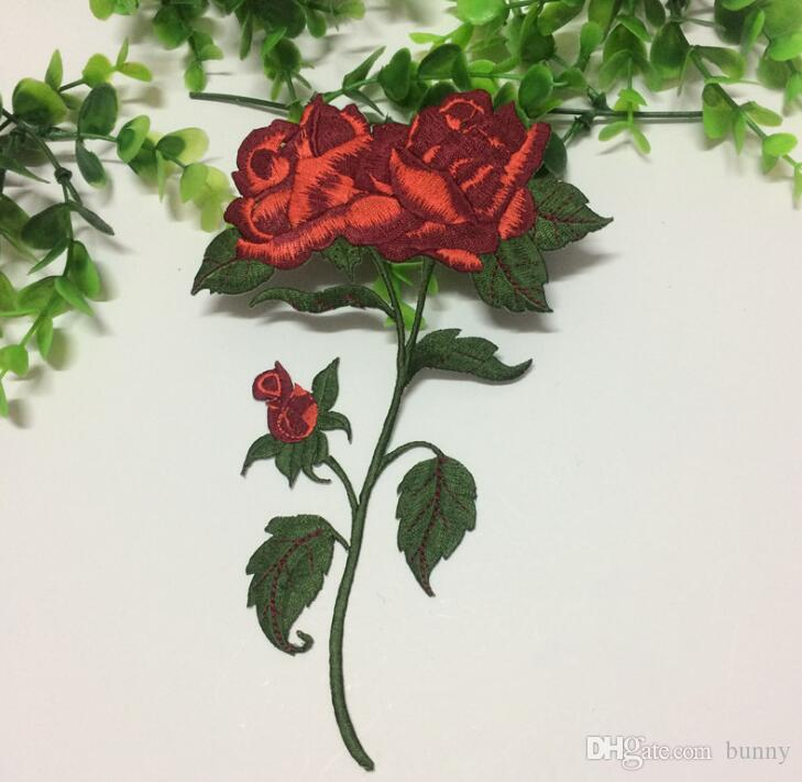 Red Color Rose Blossom Flower Applique Clothing Embroidery Patch Fabric Sticker Sewing Repair Embroidered 2017 Hot Sale