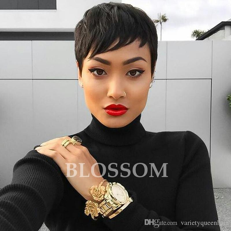 Human Brazilian Hair Side Bangs Short Layered Cut Wigs For Black Women African American Short Pixie Cut Glueless Bob Lace Wigs