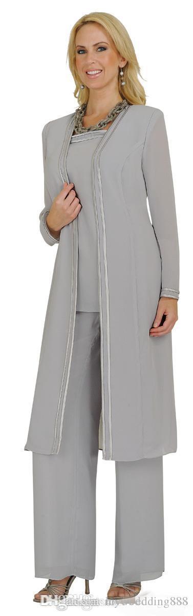 Plus Size Mère De La Mariée Costumes 2017 Pantalon Pas Cher Pantalon Robes Formelles Robes Noir / Blanc / Bleu / Gris Mousseline De Soie À Manches Longues Veste Mère Marié