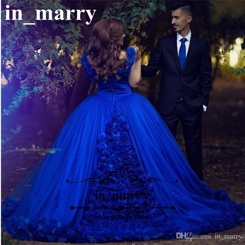 Royal Blue Cinderella Arabic Prom Dresses 2017 Ball Gown Off ...