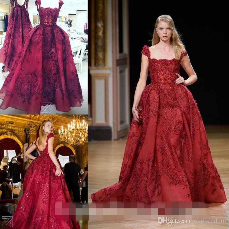 2017 Real Image Red Ball Gown Prom Dresses Spaghetti Strapless ...