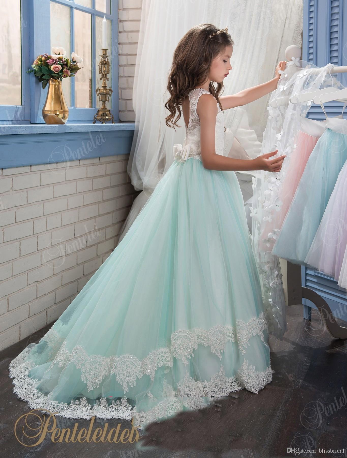 Bonito Lace Flower Girls Vestidos Sem Encosto A Linha Jewel Meninas Pageant Vestido 2017 Branco e Azul Até O Chão Crianças Comunhão Vestidos