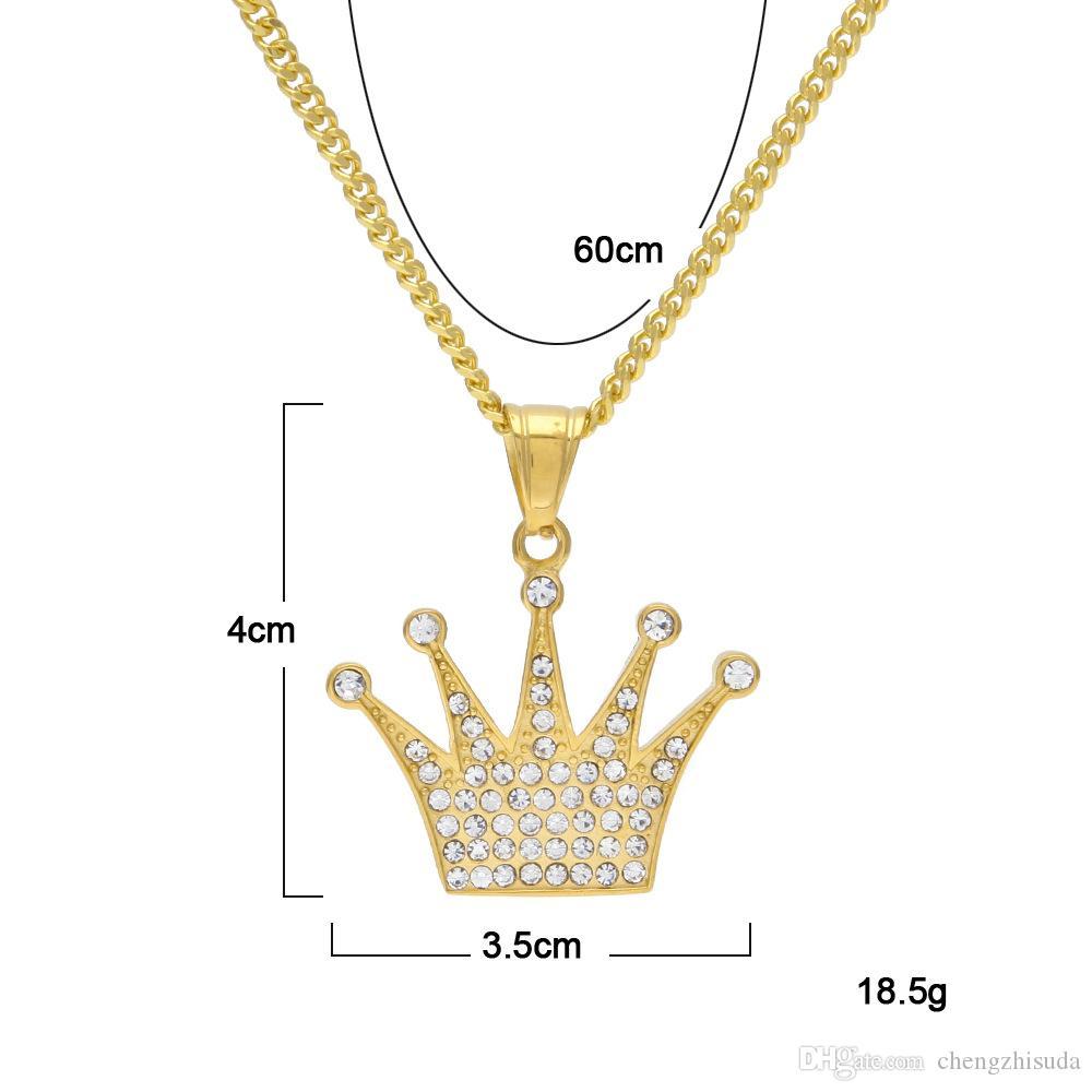 Из нержавеющей стали Золотой цвет Chape Очарование Изысканная Императорская Корона Стразы Гробные Грузки С Бесплатные 24-дюймовые Кубинские Цепочки Высочайшее Качество Ожерелье
